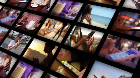 Montage. Using Smartphone Concept