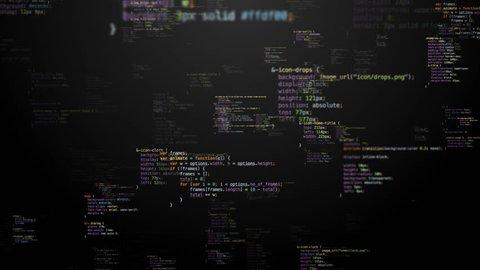 loop flying through colored random CSS/HTML code strings