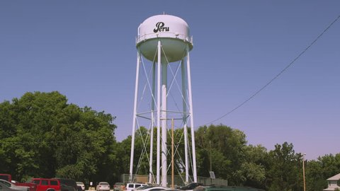 Static shot of water tower in Nemaha County, Nebraska.