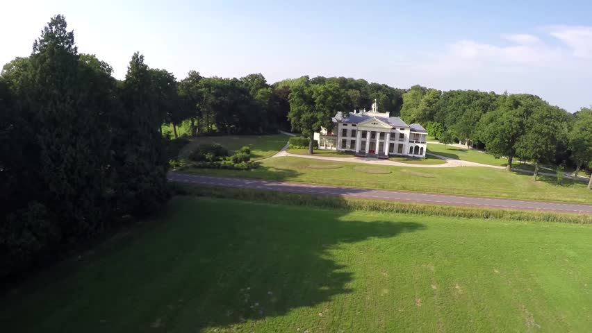 Classic Luxury House drone aerial bird eye helicopter view of beautiful classic luxury