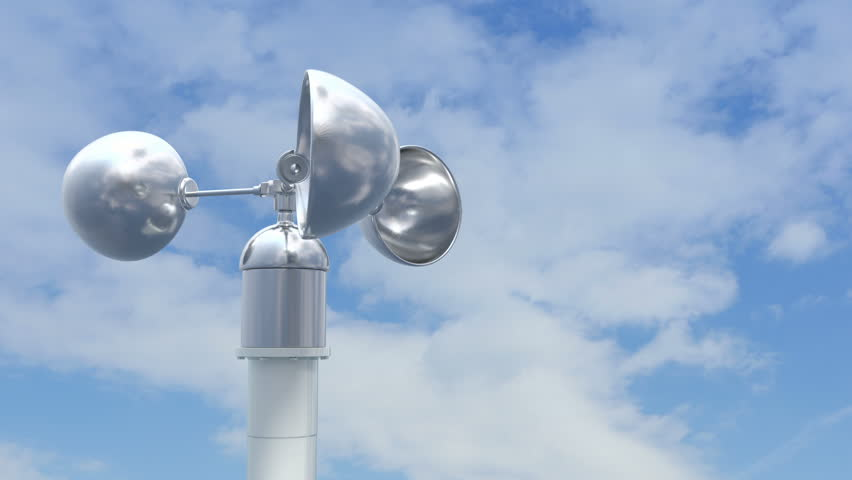 Shiny Anemometer Rotates On The Stock Footage Video  100  Royalty