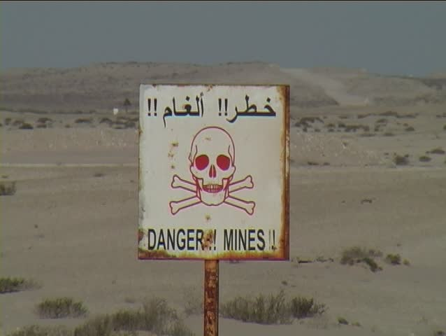 Land mine warning sign in the disputed territory of western Sahara