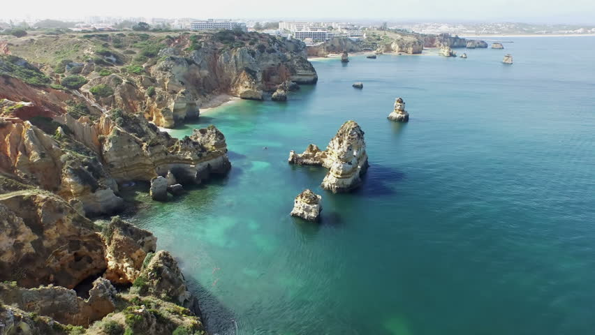 Aerial from natural rocks at Lagos in the Algarve Portugal
