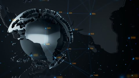 Animation of abstract data with globe of earth in digital space. Global business backdrop. Animation of seamless loop.