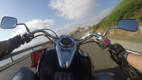 classic motorcycle getting to Alghero, Italy