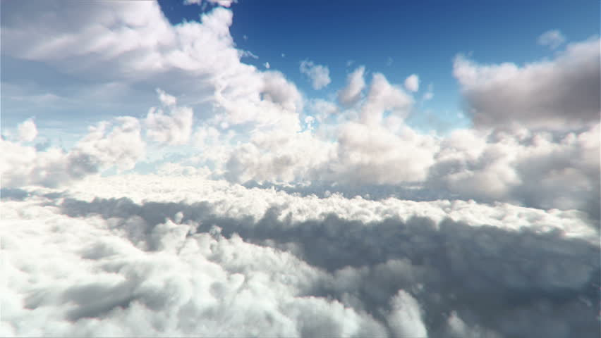 Flying through white Clouds at daytime extreme high detailed 3D render, Seamless Loop..