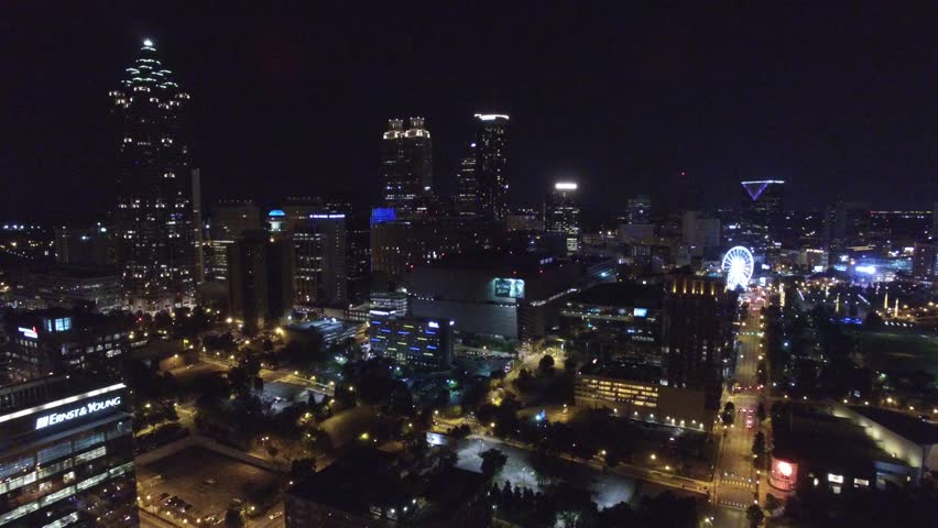 Atlanta Georgia at night aerial drone video