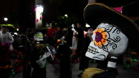 MEXICO STATE, MEXICO-CIRCA NOVEMBER 2014 (ILLUSTRATIVE IMAGE): Colorful Mariachi skeleton sculpture in Day of the Dead. Mexico is widely known by its beautiful regional traditions and magical towns.