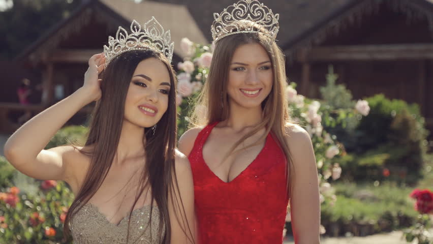 two gorgeous girls in long gowns Stock Video (HD) Royalty-Free ...
