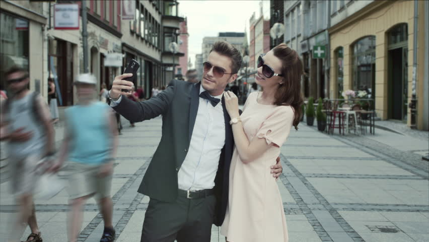 Fashionable couple in the city timelapse video #10985036