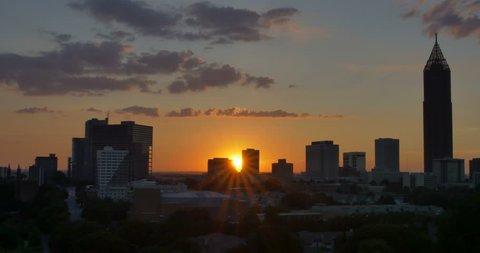 Atlanta skyline sunset time lapse