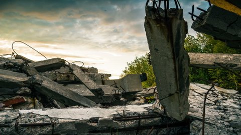 Sunset over the wreckage of buildings.Apocalypse