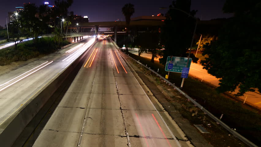 Time lapse footage with pan left motion of light trails of cars on Interstate 110 Freeway & Time Lapse Footage Of Light Trails Of Cars On Interstate 110 ... azcodes.com