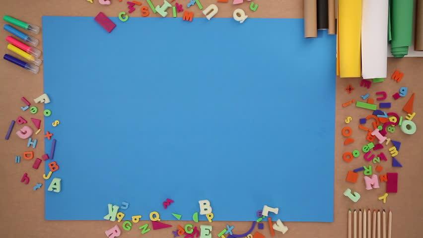 Back to school on blue background  | Shutterstock HD Video #11112746