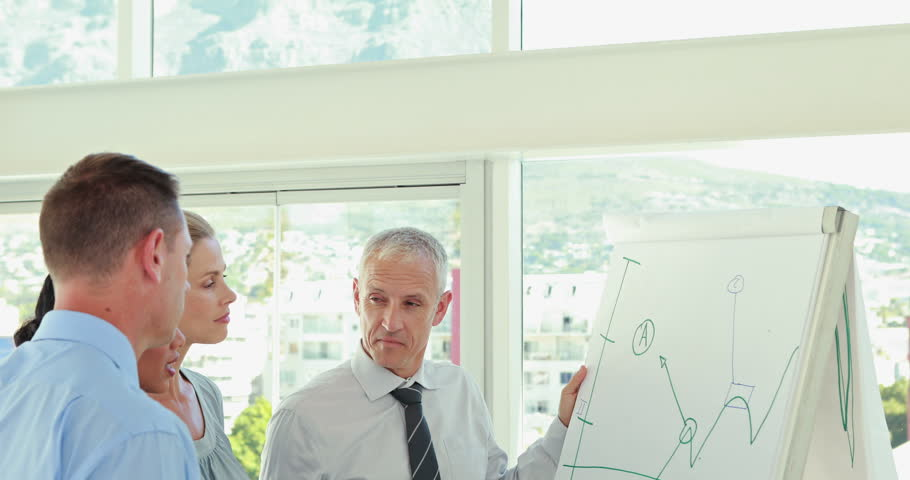 Business team talking about the graph on the whiteboard in the meeting room | Shutterstock HD Video #11120426