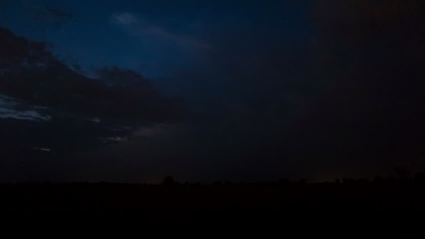 Night thunder-storm with lightnings in field.,4K 4096x2304 . Time lapse