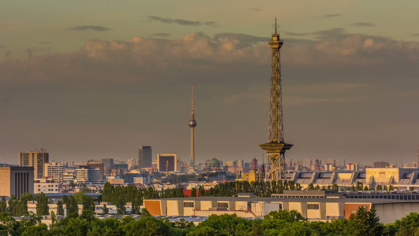 Timelapse view of the Berlin Skyline. Transition From Day to Night.