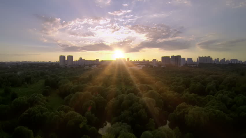 Aerial drone footage. Moscow park.