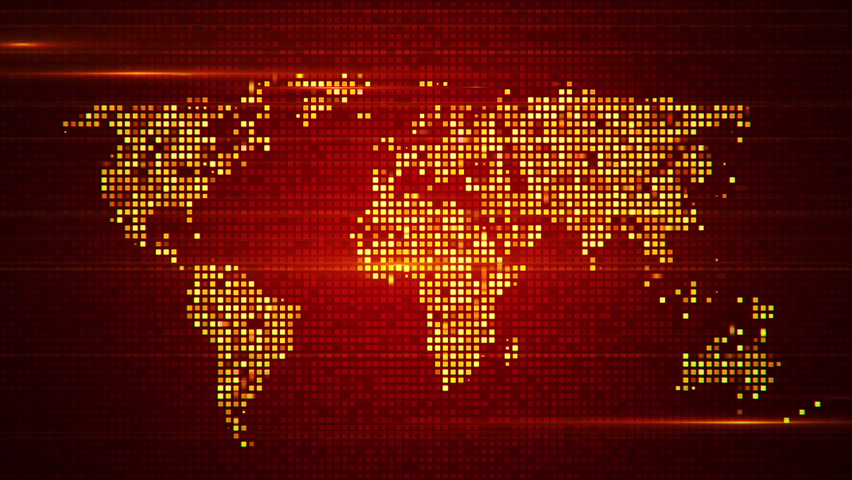 Global red world map loop this animated world map with visual animation of flicker and slow motion particles in digital world map abstract background of technology gumiabroncs Image collections