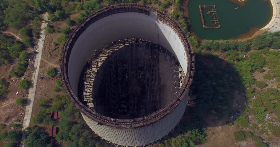 Cooling towers unfinished srade of the Chernobyl nuclear power plant (Aerial)