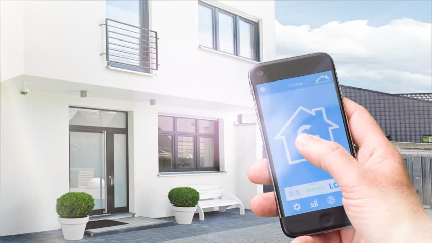 Smartphone Home Automation smart home device - house automation home control concept on a