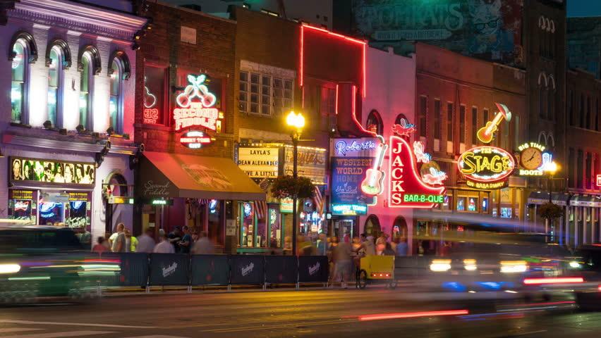 Nashville August 13 Timelapse People And Vehicular Traffic Travel On Broadway Visiting