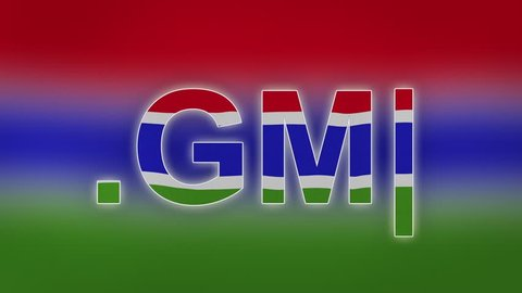 "GM - internet domain of Gambia. Typing top-level domain "".GM"" against blurred waving national flag of Gambia. Highly detailed fabric texture for 4K resolution."