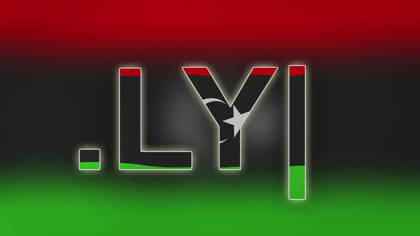 """LY - internet domain of Libya. Typing top-level domain """".LY"""" against blurred waving national flag of Libya. Highly detailed fabric texture for 4K resolution."""