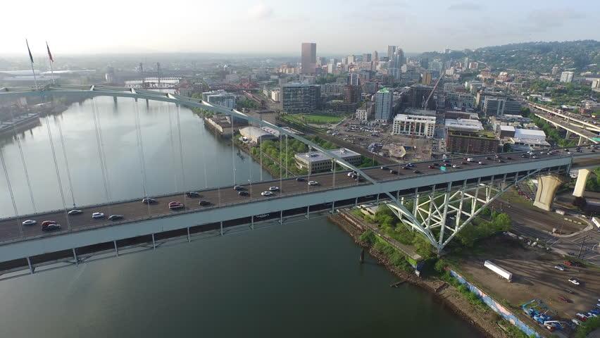 Fremont Bridge, Portland Oregon aerial shot