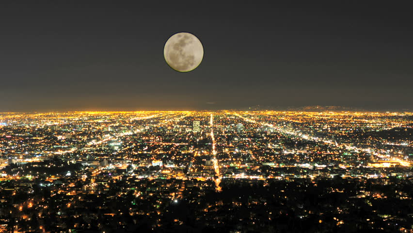 Time Lapse of Moon Rising over Los Angeles | Shutterstock HD Video #1127776