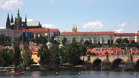 Charles Bridge in Prague. Czech Republic. Shot in 4K (ultra-high definition (UHD)).