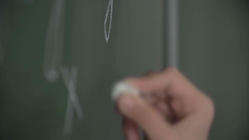 Hand of pupil solving equation on chalkboard