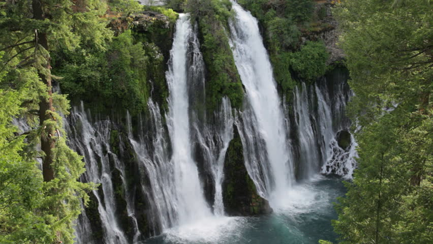 Locked down view of Burney Falls in McArthur-Burney Falls Memorial State Park, Shasta County, California; includes ambient audio. #11314286