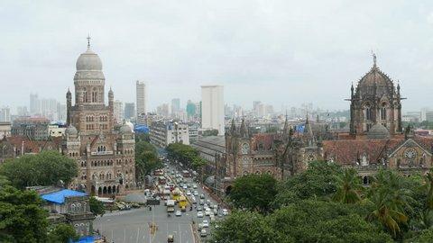 4K video of Chhatrapati Shivaji Terminus (CST) formerly Victoria Terminus in Mumbai, India is a UNESCO World Heritage Site and Brihanmumbai Municipal Corporation (BMC) Building, Mumbai.