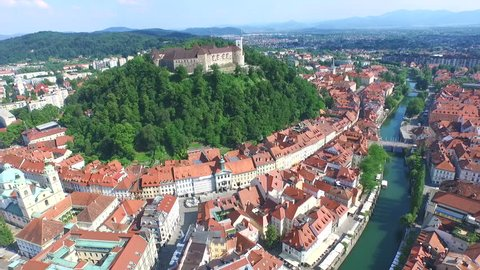 View from above of beautiful fortress Ljubljana Castle on the hill in Slovenia.