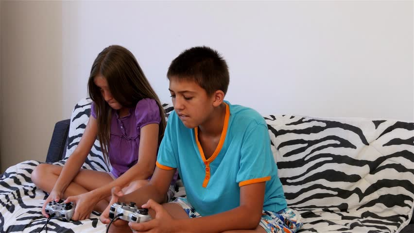 Young Boy And Girls Sitting On Bed In Children Room And ... - photo#42