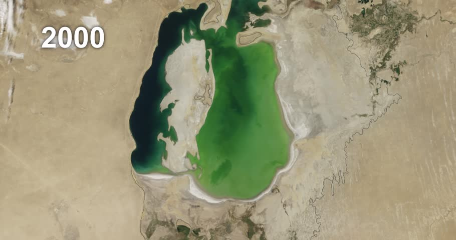 Time lapse of NASA satellite images shows the Aral Sea losing water from 2000-2015, with animated label showing passage of years.