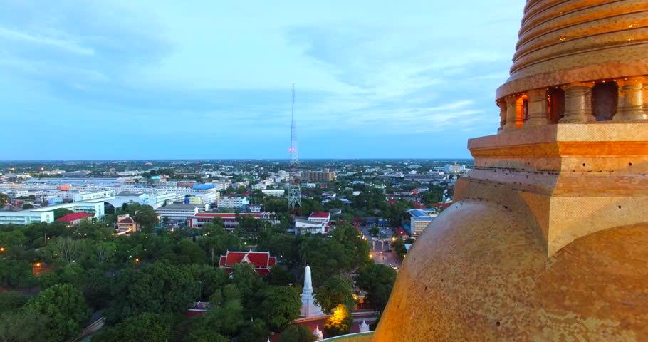 Aerial photograph Landmark Bird's-eye view Golden pagoda Phra Pathom Chedi of Nakhon Pathom province Asia Thailand  | Shutterstock HD Video #11448176