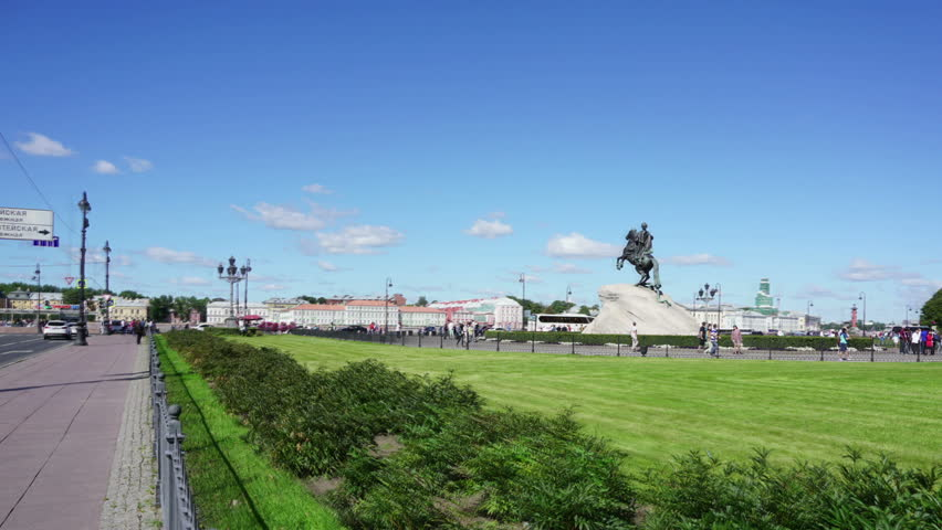 "SAINT-PETERSBURG, RUSSIA - AUGUST 15, 2015: Peter I famous statue in St. Petersburg Russia - ""The Bronze Horseman"", hyperlapse  #11482616"