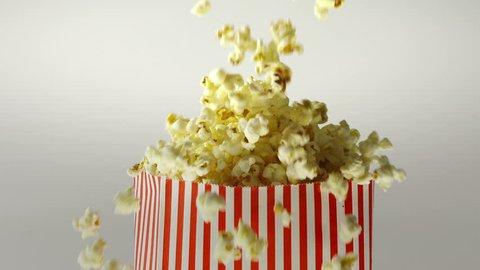 180fps Super Slow Motion Popcorn Falling Inside Vintage Bag