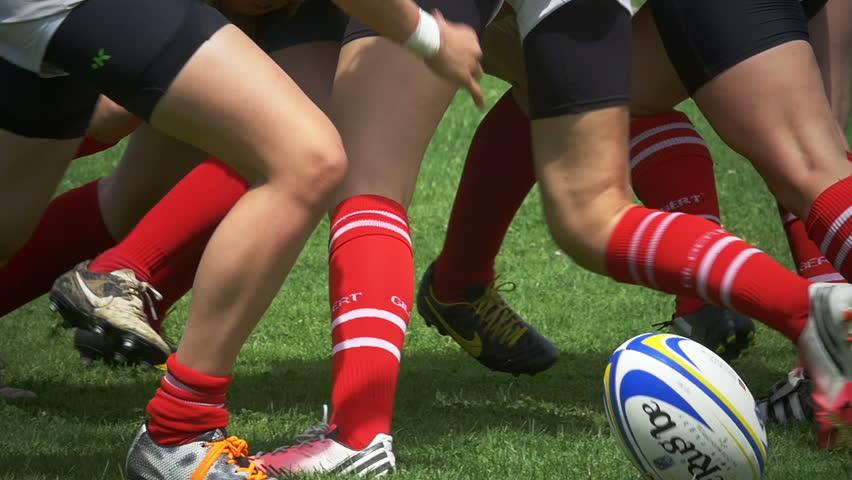ZAGREB, CROATIA - JUNE 20, 2015: Rugby 7s Women European Championship. Denmark - Luxembourg. Scrum