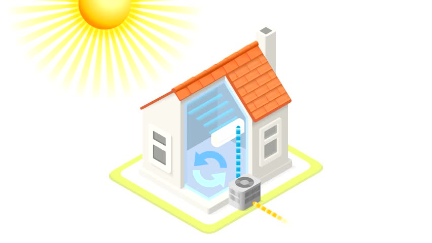 Stock Video Clip Of Air Conditioning Unit House Heating Heat Pump |  Shutterstock