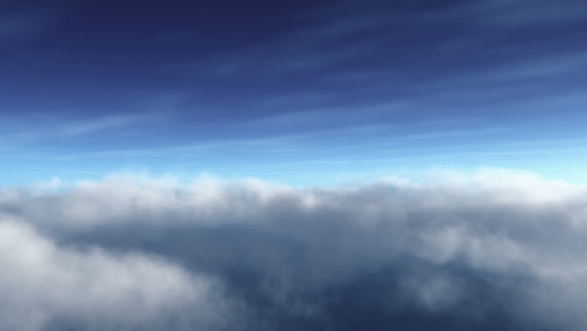Flying Through white Clouds at daytime extreme high deatailed 3D render, Seamless Loop..