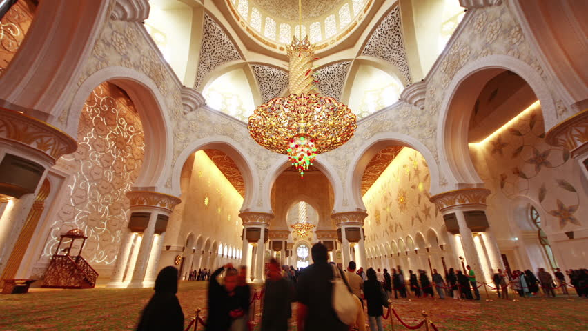 Chandelier In Sheikh Zayed Mosque Abu Dhabi Stock Footage Video ...