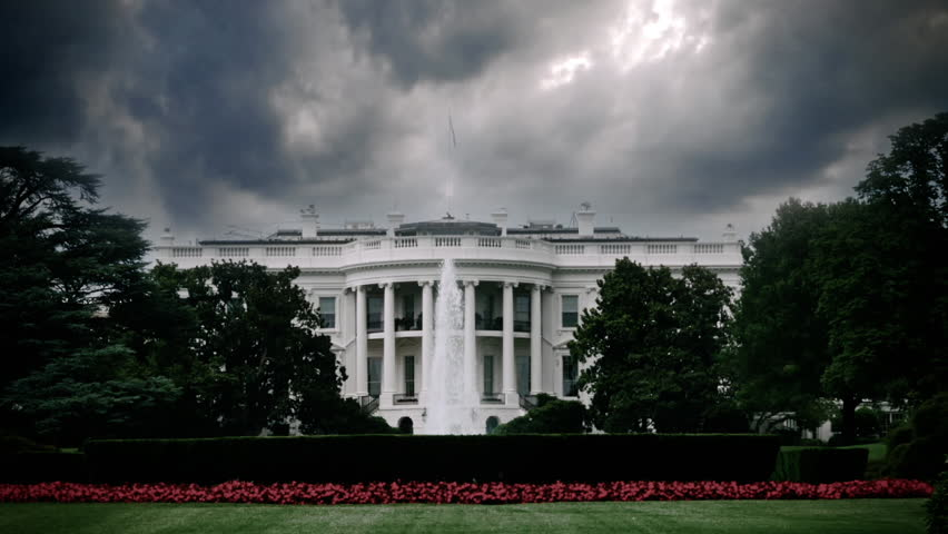 Storm clouds looming over the White House in Washington, D.C. signifying upcoming trouble. Impeachment, perhaps? | Shutterstock HD Video #11530556