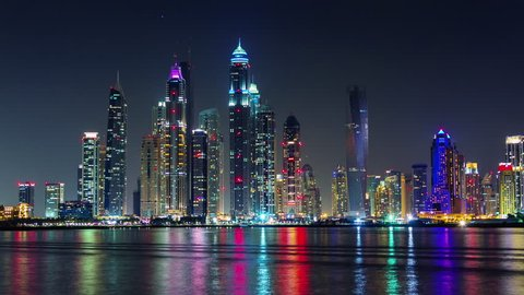 dubai marina night light illumination palm bay panorama 4k time lapse uae