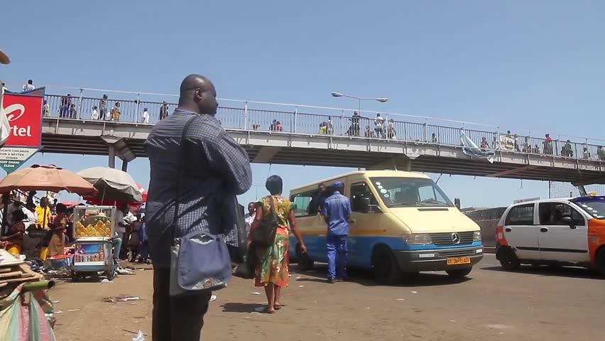 Kaneshie Market Ghana, March 2015, low angle shot van passing
