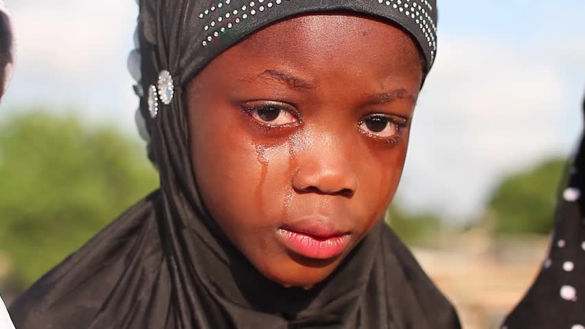 Zaria Nigeria, December 2014: Close up Crying Muslim girl