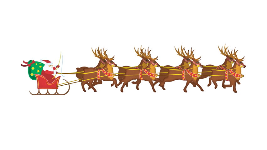 Santa with reindeer with alpha channel
