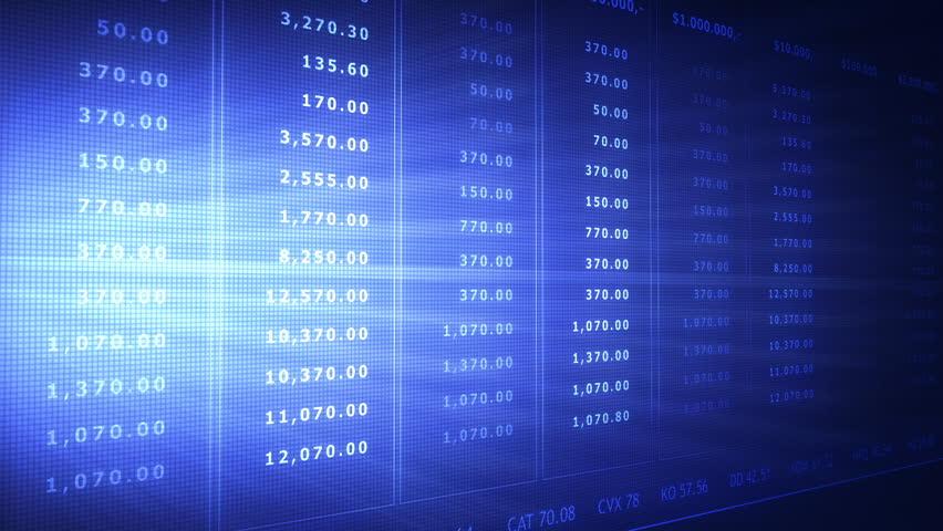 Stock data animated screen